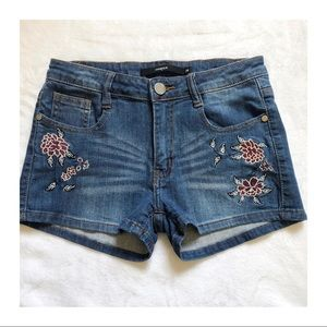 HARPER Floral Embroidered and Distressed Shorts